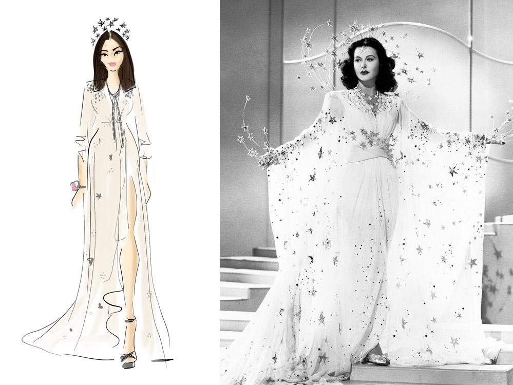 Nákres šatů Lany versus Hedy Lamarr